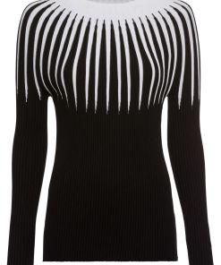 Pulover tricotataîn dungi bonprix - negru/ecru