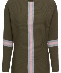 Pulover tricotatabonprix - oliv închis-roz-gri