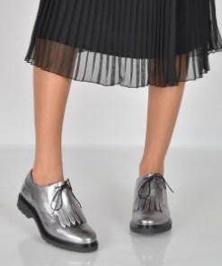 Pantofi IMAGE argintii, 24751, din piele naturala