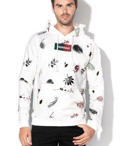 Hanorac alb cu model floral si buzunar kangaroo Jortrophy 2157007