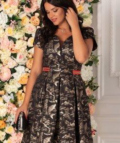 Rochie Nadia neagra cu imprimeu aramiu