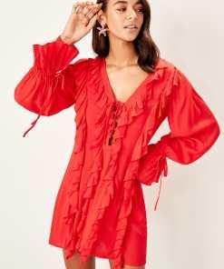 Rochie de plaja Trendyol Red frilled fastening detailed beach dress