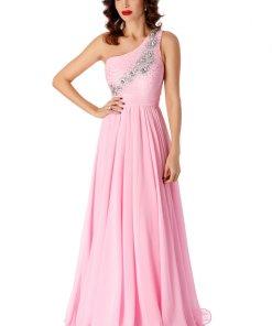 Rochie roz deschis de ocazie in clos cu pietre strass lunga din voal