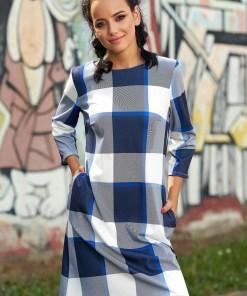 Rochie albastra casual scurta de zi cu croi in a cu buzunare cu maneci trei-sferturi fara captuseala