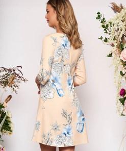 Rochie galbena scurta eleganta cu croi in a cu buzunare fara captuseala cu imprimeu floral