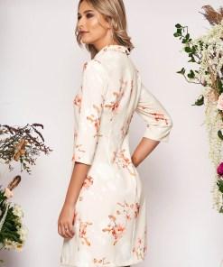 Rochie LaDonna nude scurta eleganta din scuba cu croi in a cu guler cu buzunare si imprimeu floral