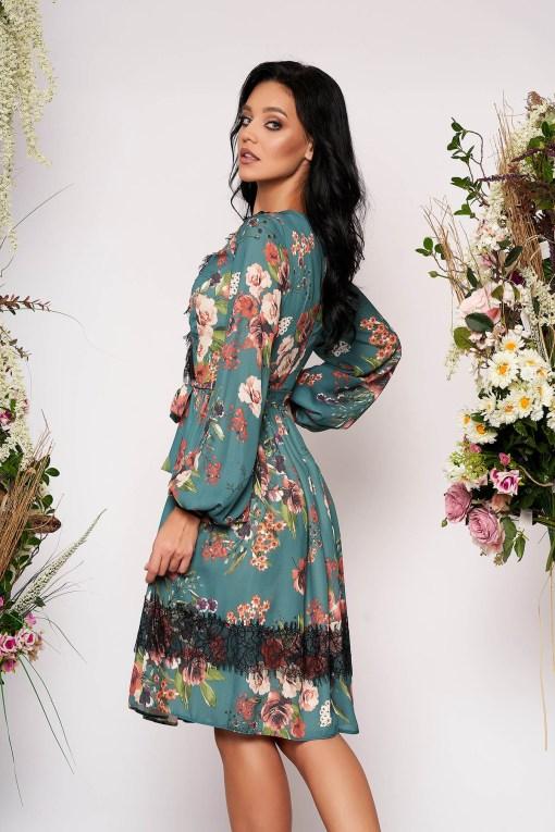 Rochie LaDonna verde petrol midi eleganta in clos din voal cu decolteu in v cu maneci lungi cu imprimeu floral