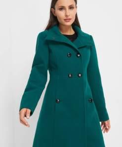 Palton evazat cu nasturi - Verde