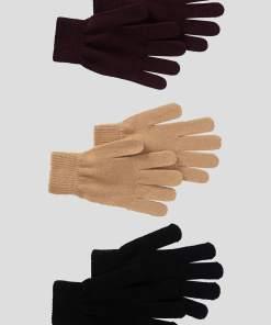 Mănuși de tricot 3-pack - Violet