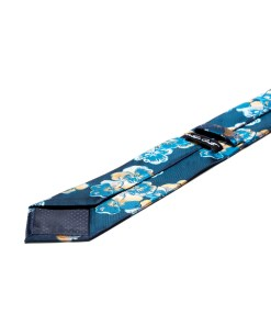 Cravata Matase Bleumarin Cu Flori CR008-110