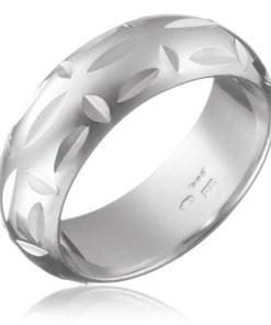 Bijuterii eshop - Inel argint 925 - gravuri lucioasa, goluri perpendiculare H13.19 - Marime inel: 49
