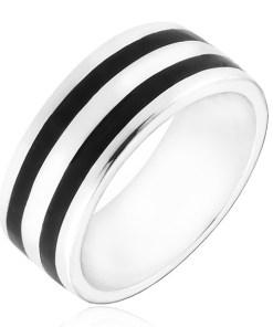 Bijuterii eshop - Inel argint - banda cu doua linii negre H17.15 - Marime inel: 50