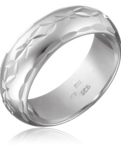 Bijuterii eshop - Inel argint - flori cu frunze gravate, suprafata rosunjit? H13.15 - Marime inel: 50