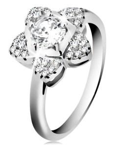 Bijuterii eshop - Inel de logodna din argint 925, floare stralucitoare din zirconii transparente H9.18 - Marime inel: 46