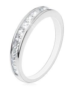Bijuterii eshop - Inel din argint 925, brate lucioasa, line orizontal? din zirconii transparente V09.09 - Marime inel: 49