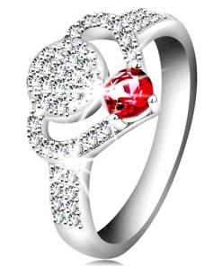 Bijuterii eshop - Inel din argint 925, contur de inima din zirconii transparente, cerc ?i zirconiu stralucitor roz K01.08 - Marime inel: 55