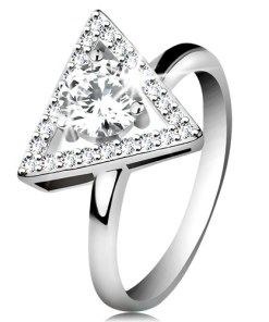 Bijuterii eshop - Inel din argint 925 - contur triunghi cu zirconii, zirconiu transparent în mijloc K02.07 - Marime inel: 51