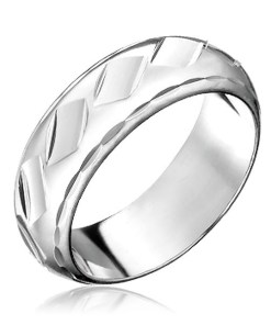 Bijuterii eshop - Inel din argint 925 - goluri lucioasa tip romb H12.12 - Marime inel: 50