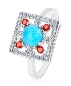 Bijuterii eshop - Inel din argint 925, patrat din zirconii transparente, cerc albastru-deschis în mijloc K05.08 - Marime inel: 48