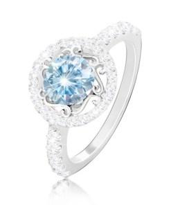 Bijuterii eshop - Inel din argint 925 - zirconiu albastru deschis, ornamente, banda din zirconiu ?i brate M13.13 - Marime inel: 49