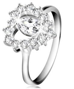 Bijuterii eshop - Inel din argint 925, zirconiu fatetat în forma de bobita, contur de inima, zirconii transparente K02.20 - Marime inel: 47