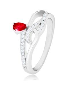 Bijuterii eshop - Inel din argint 925, zirconiu în forma de lacrima, linii unduite cu zirconii  K08.07 - Marime inel: 56