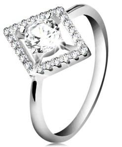 Bijuterii eshop - Inel din argint 925, zirconiu rotunda?i transparent, în interiorul unui contur de romb K02.14 - Marime inel: 48