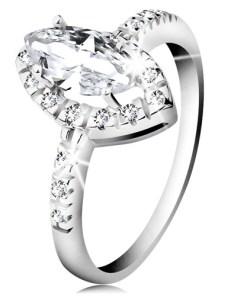 Bijuterii eshop - Inel placat cu rosiu, argint 925, boab? transparent? cu margine din zirconiu H9.10 - Marime inel: 48
