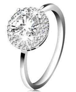 Bijuterii eshop - Inel placat cu rosiu, argint 925, zirconiu rotunda?i transparent, margine lucioasa K02.09 - Marime inel: 49