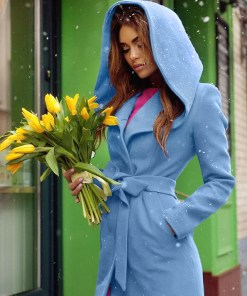 Palton stofa gluga Sylvie Bleu