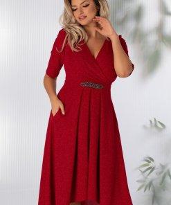 Rochie Moze rosie cu glitter stralucitor si accesoriu in talie