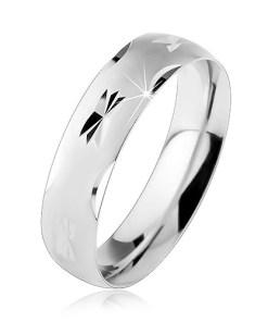 Bijuterii eshop - Verigheta din argint 925, suprafata convex? mata cu crest?turi lucioasa R26.23 - Marime inel: 49