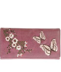 Portofel mov, cu fluturi si flori