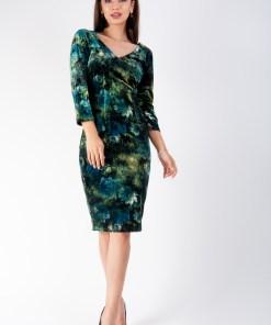 Rochie conica din catifea print Verde 36