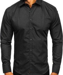 Cămașă elegantă pentru bărbat cu mâneca lungă neagră Bolf 4705G