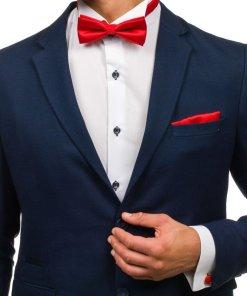 Set pentru bărbat cravată, butoni, batistă roșu-deschis Bolf KSP01