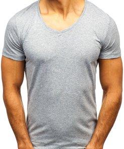 T-shirt pentru bărbat cu decolteu gri Bolf 2309