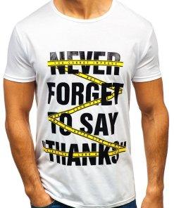 T-shirt pentru bărbați cu imprimeu alb Bolf KS1870