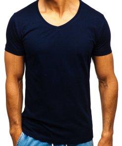 Tricou cu decolteu bărbați bleumarin Bolf 2309
