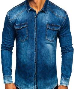 Cămașă de blugi bărbați bleumarin Bolf 2063