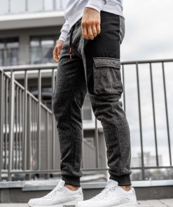 Pantaloni de trening joggers bărbați negru-portocaliu Q3774