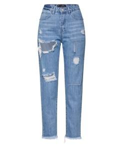 Missguided Jeans 'RIOT HIGH RISE SLIT RIP MOM JEAN'  denim albastru