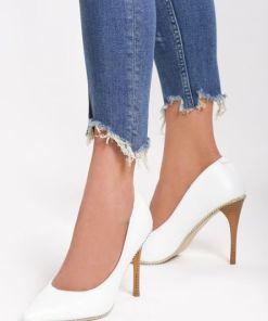 Pantofi stiletto Beads Albi