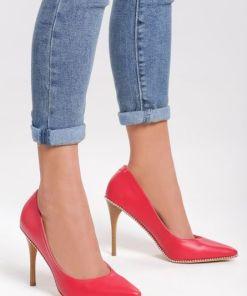 Pantofi stiletto Beads Rosii
