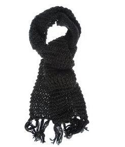 Fular negru tricotat, cu franjuri