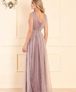 Rochie LaDonna lila lunga de ocazie in clos din tul cu aplicatii cu perle cu bust buretat fara maneci