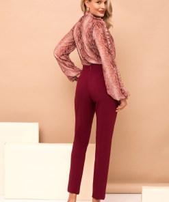 Pantaloni PrettyGirl visinii lungi cu un croi drept cu buzunare si talie inalta