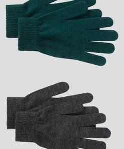 Mănuși de tricot 2-pack verde gri