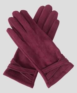 Mănuși din eco-piele întoarsă rosii