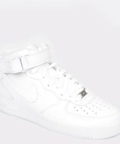 Pantofi sport NIKE, Air force 1 mid 07 albi, din piele ecologica